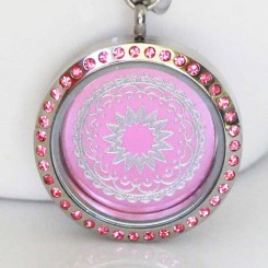 Pink Bejewelled Locket and Plate Set