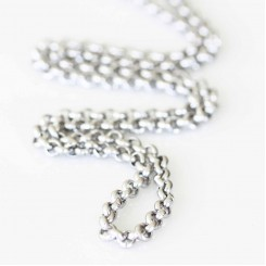 4mm Rolo Necklace - 18-20 inch adjustable - Silver Tone