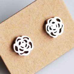Rose Earrings - Silver Tone