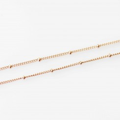 Station Necklace - 18 - 20 inch adjustable - Rose Gold Tone