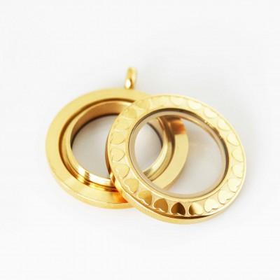 Gold Heart Edge Screw Top Locket - 2.8cm wide