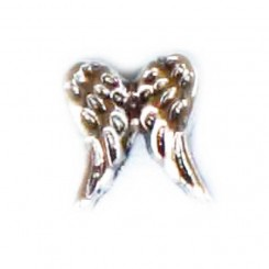 Double Angel Wing - silver tone