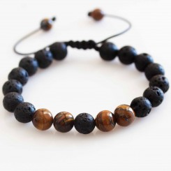 Tigers Eye Lava Bead Bracelet