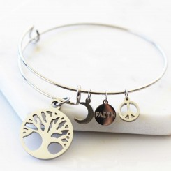 Faith, Strength, Peace -  Adjustable Bangle