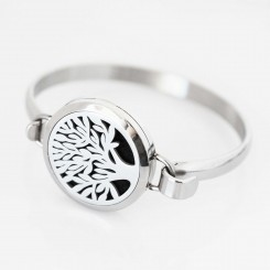 Perfume/Essential Oil - Bangle - Tree of Life - Silver Tone