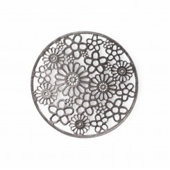 Flower Window Plate - Silver Tone